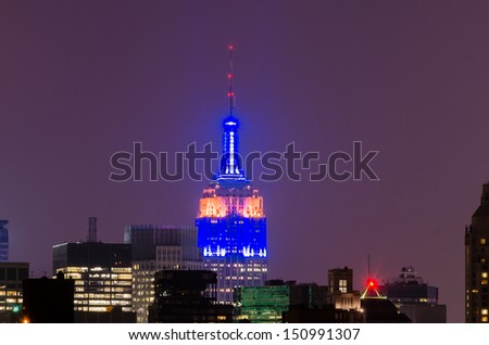 NEW YORK - CIRCA MAY 2013: The Empire State Building, Manhattan, circa May 2013. The Empire State Building is a 102-story landmark and American cultural icon in New York - stock photo