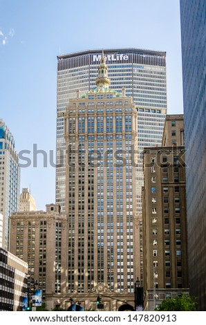 NEW YORK - CIRCA MAY 2013: The MetLife Building, New York, circa May 2013. The MetLife Building is located on Park Avenue and is a recognizable part of the Manhattan skyline. - stock photo