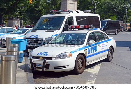 NEW YORK - CIRCA SEPTEMBER 2015. An NYPD patrol car on street, evidencing an increase in police presence many residents call for as a result of the recent increase in violent crimes in New York City. - stock photo