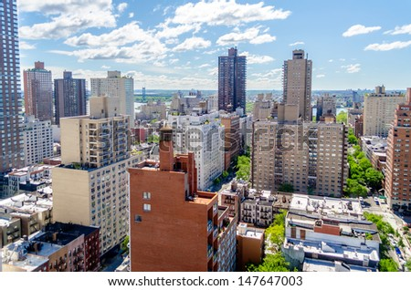 New York City, Aerial View of the Upper East Side, corner between 2nd Ave and 86th st - stock photo