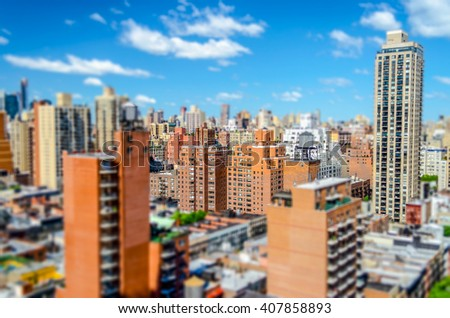 New York City, Aerial View of the Upper East Side, corner between 2nd Ave and 86th st. Tilt-shift effect applied - stock photo
