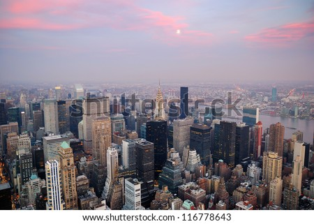 New York City aerial view with Manhattan skyline and skyscrapers. - stock photo