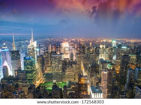 New York City. Amazing panoramic view of Manhattan skyline and night lights. - stock photo