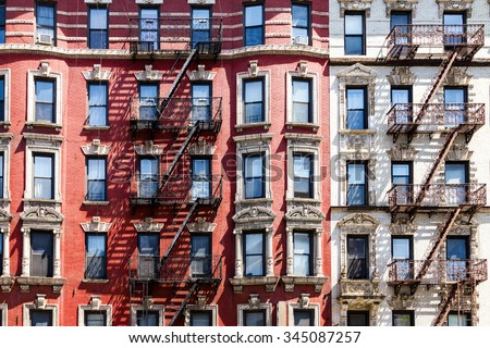 New York City apartment building background - stock photo