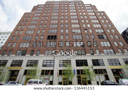NEW YORK CITY - APRIL 19: A general exterior view of the offices of Google in New York City, on Friday, April 19, 2013. - stock photo