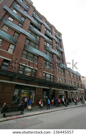 NEW YORK CITY - APRIL 19: A general view of the Chelsea Market in New York City, on Friday, April 19, 2013. - stock photo