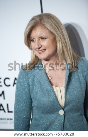 """NEW YORK CITY - APRIL 20: Arianna Huffington arrives for the opening night of the Tribeca Film Festival and world premier of """"The Union"""" on April 20, 2011 in New York City, NY - stock photo"""