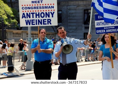 New York City - April 26, 2009:  Former Congressman Anthony Weiner marching on Fifth Avenue during the annual Greek Independence Day Parade - stock photo