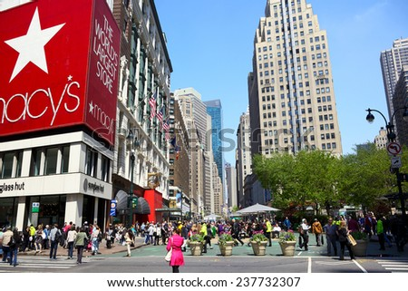 NEW YORK CITY -APRIL 19: Herald Square at 34th St. and Broadway with department store Macy's in a beautiful spring and sunny day on April 19, 2012 in New York, NY, USA. - stock photo