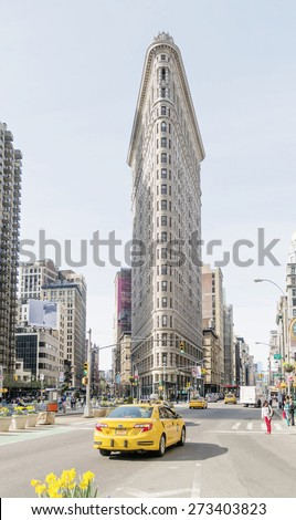 NEW YORK CITY - APRIL 19: The Flatiron Building facade on April 19, 2015 in New York City.  - stock photo
