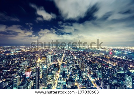 New York City at night.. Aerial view. - stock photo
