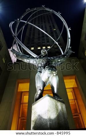 New York City at Night, Hercules Statue, Rockefeller Center - stock photo
