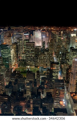 New York City at night, looking towards Central Park - stock photo