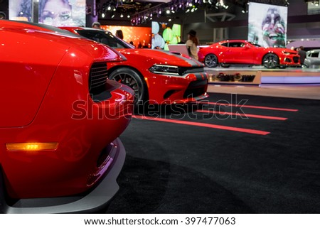 New York City - 3/25/16 - At the New York International Auto Show, Dodge displays their lineup of Hellcats with 707 HP - stock photo