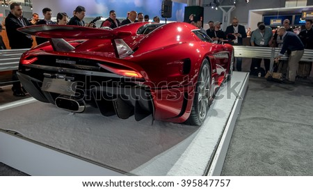 New York City - 3/25/16 - At the New York International Auto Show, Koenigsegg displays it's new Regera. Rear view - stock photo
