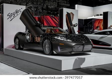 New York City - 3/25/16 - At the New York International Auto Show, the new Spyker C8 Preliator - stock photo
