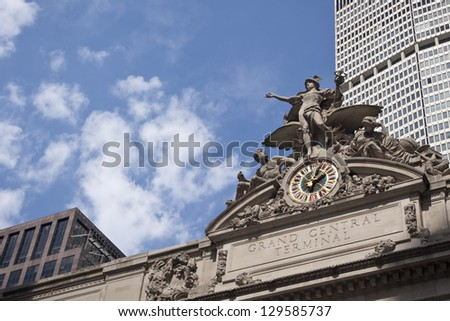 NEW YORK CITY - AUG 8: Exterior of Grand Central Station on August 8, 2011 in New York City, NY. The terminal is the largest train station in the world by number of platforms having 44. - stock photo