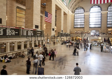 NEW YORK CITY - AUG 8: Interior of Grand Central Station on August 8, 2011 in New York City, NY. The terminal is the largest train station in the world by number of platforms having 44. - stock photo