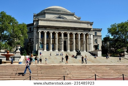New York City - August 23, 2011:  Library of Columbia University with the famed Alma Mater statue at the center of the stairs is the focal point of the campus at West 116th Street in upper Manhattan - stock photo