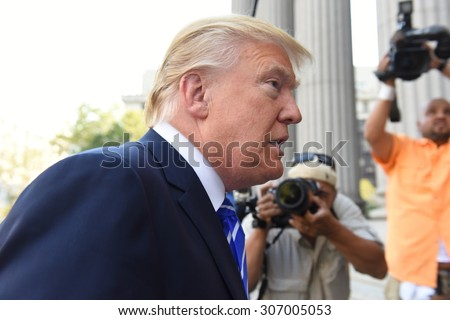 NEW YORK CITY - AUGUST 17 2015: Republican presidential nomination front runner Donald Trump arrived at 60 Centre Street for his stint at jury duty in Manhattan's supreme court. - stock photo