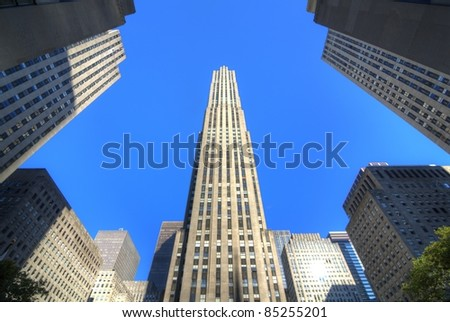 NEW YORK CITY - August 29, 2011: The GE Building is the centerpiece of Rockefeller Center and is known for it's 360 degree observation deck August 29, 2011 in New York, NY. - stock photo