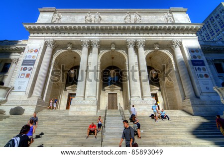 NEW YORK CITY - AUGUST 27: The New York City Public Library Main Branch August 27, 2011 in New York, NY. Completed in 1911, the flagship building is a National Historic Landmark. - stock photo