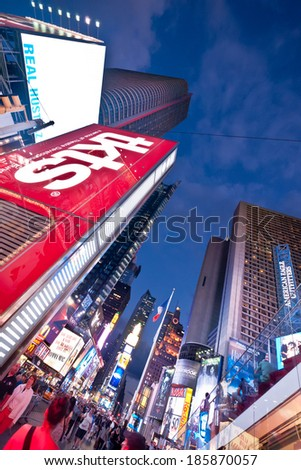 NEW YORK CITY -AUGUST 11: Times Square, featuring  Broadway Theaters and animated LED signs, is a symbol of New York City and the United States, August 11, 2011, in Manhattan, New York City. USA.  - stock photo
