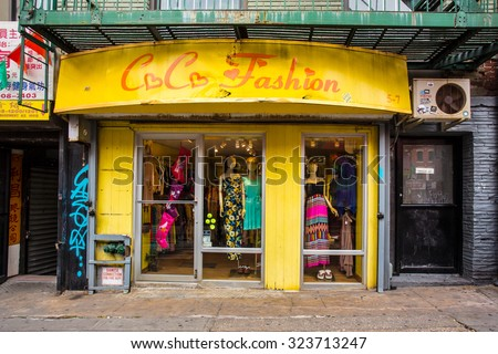 NEW YORK CITY - AUGUST 3, 2014:  View of storefront shop along historic Doyer Street known as the Bloody Angle in Chinatown, Lower East Side of Manhattan. - stock photo