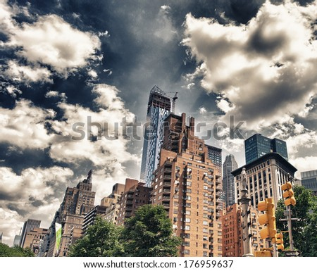 New York City. Beautiful upward view of Manhattan Skyscrapers as seen from street level. - stock photo