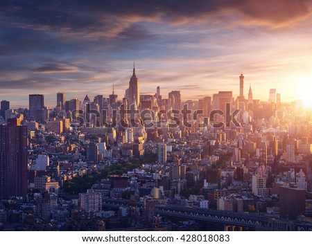 New York city before sunrise - stock photo