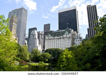 New York City buildings from Central park - stock photo