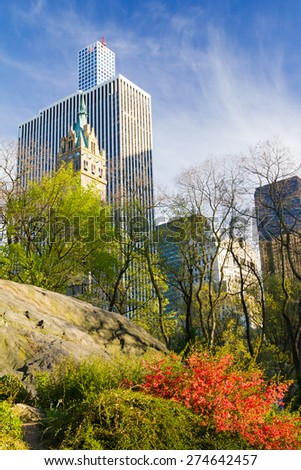 NEW YORK CITY - Central Park Colorful Spring Landscape at Sunset - stock photo