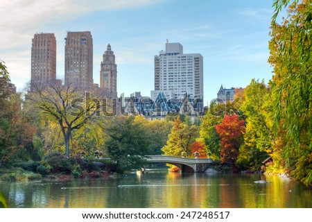 New York City - Central Park in Fall - stock photo