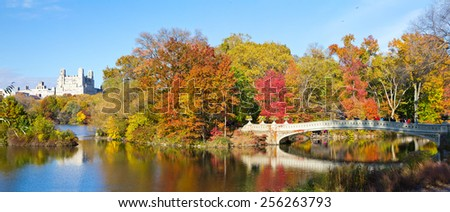 NEW YORK CITY - Central Park panoramic landscape in Fall - stock photo