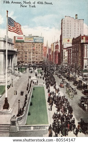 NEW YORK CITY – CIRCA 1908: Vintage postcard depicting the elite shopping district of Fifth Avenue, North of 40th Street, New York City, USA, circa 1908.  . - stock photo