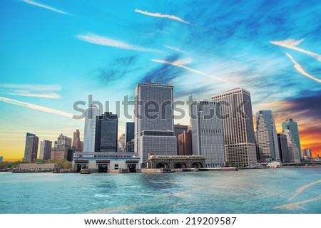 New York City cityscape in the evening - stock photo