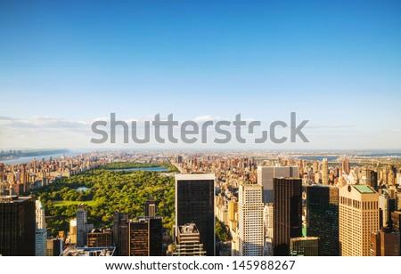 New York City cityscape on a sunny day - stock photo