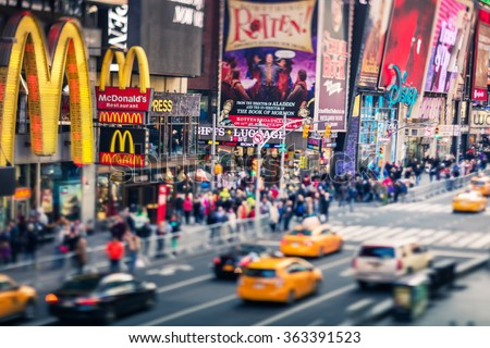 NEW YORK CITY - Croud of people in Times Square, famous street of New York City and US, December 19, 2015 in New York, NY.  - stock photo