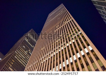 NEW YORK CITY - DEC. 25, 2014: Rockefeller Center at night in Midtown, Manhattan NYC. - stock photo