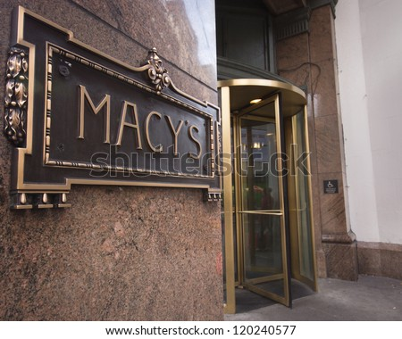 NEW YORK CITY - DEC 2:  Sign at entrance of Macy's department store in Herald Square, NYC on Dec 2, 2011.  This building was added to the National Register of Historic Places as a landmark in 1978. - stock photo
