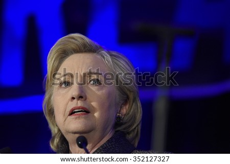 NEW YORK CITY - DECEMBER 13 2015: Former Secretary of State Hillary Rodham Clinton spoke at the National Immigration Integration conference. - stock photo