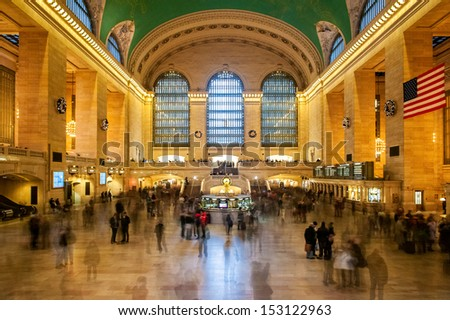 NEW YORK CITY - DECEMBER 31: Main hall of Grand Central Station, as seen on December 31, 2012, in New York, NY. The terminal is the largest train station in the world by number of platforms. - stock photo