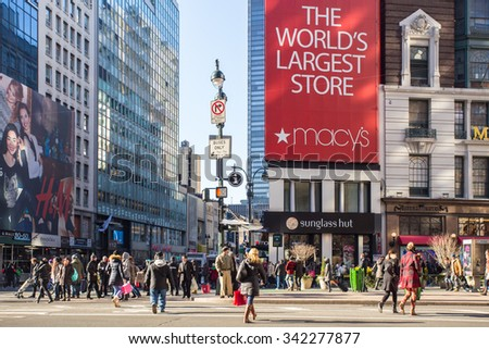 NEW YORK CITY - DECEMBER 12, 2013: Street view of Macy's Herald Square in midtown Manhattan at Christmas holiday crowd - stock photo