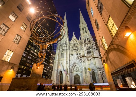 NEW YORK CITY - FEB 11: St. Patrick's Cathedral in New York City on February 11, 2015  One of the 5 boroughs of New York City, the smallest but also the most populated.  - stock photo