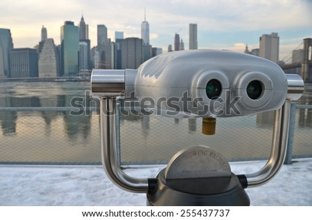 NEW YORK CITY - FEBRUARY 22, 2015: Brooklyn Bridge and Manhattan skyline in the winter, New York City, USA. - stock photo