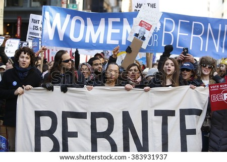 NEW YORK CITY - FEBRUARY 27 2016: Hundreds of New Yorkers gathered in Union Square Park to rally and march to Zuccotti Park on behalf of Democratic presidential candidate Bernie Sanders. - stock photo