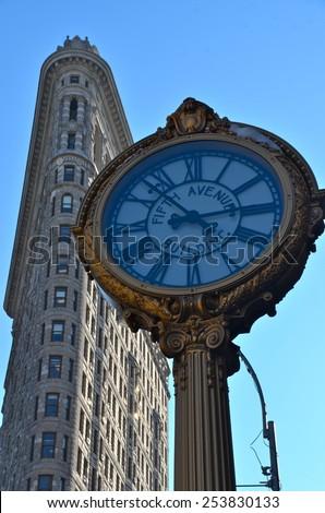 New York City - February 17, 2015: New York City Manhattan midtown view and the Flatiron Building, New York City, USA. - stock photo