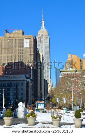 New York City - February 17, 2015: New York City Manhattan midtown view with Empire State Building, New York City, USA. - stock photo
