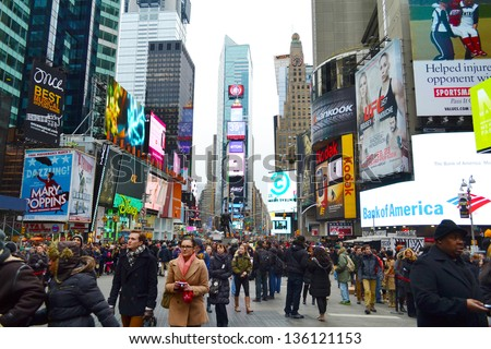 NEW YORK CITY - FEBRUARY 16 : Times Square pictured on February 16, 2013 in New York, New York. Times Square was originally named Longacre Square until 1904. - stock photo
