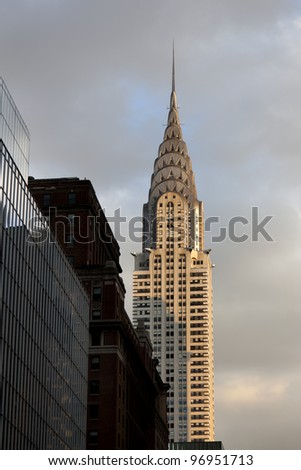 NEW YORK CITY - JAN 02, 2012: Chrysler building facade on January 02, 2012 in New York City. The world's tallest building (319 m) before it was surpassed by the Empire State Building in 1931 - stock photo